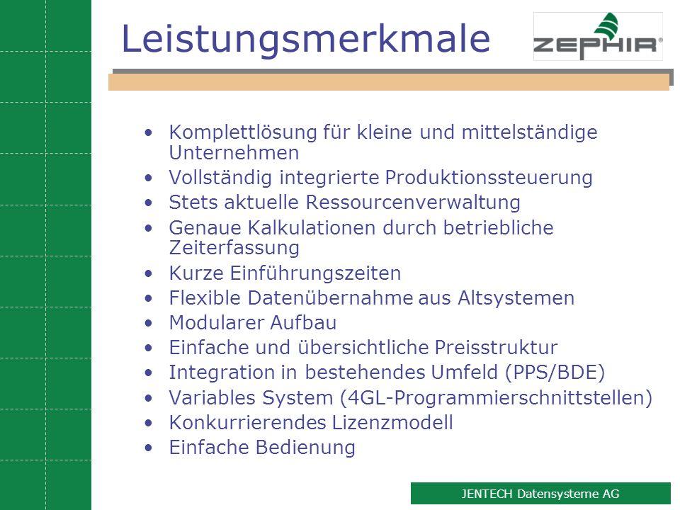 Leistungsmerkmale Komplettlösung für kleine und mittelständige Unternehmen. Vollständig integrierte Produktionssteuerung.