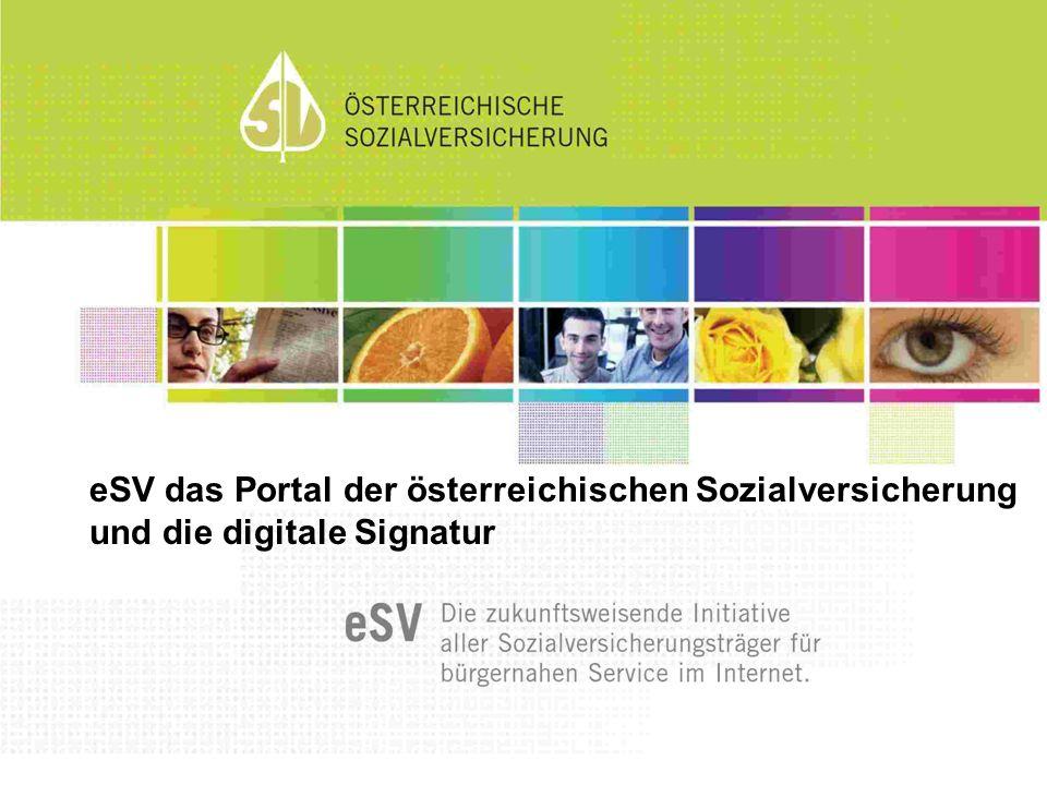 eSV das Portal der österreichischen Sozialversicherung