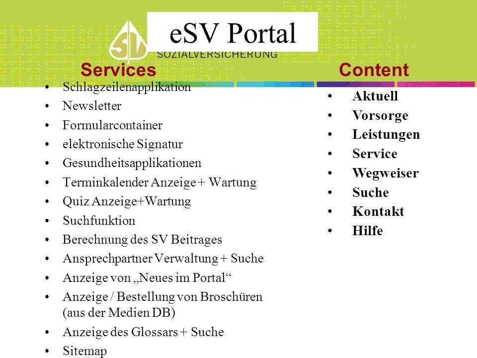 eSV Portal Services Content Aktuell Vorsorge Leistungen Service