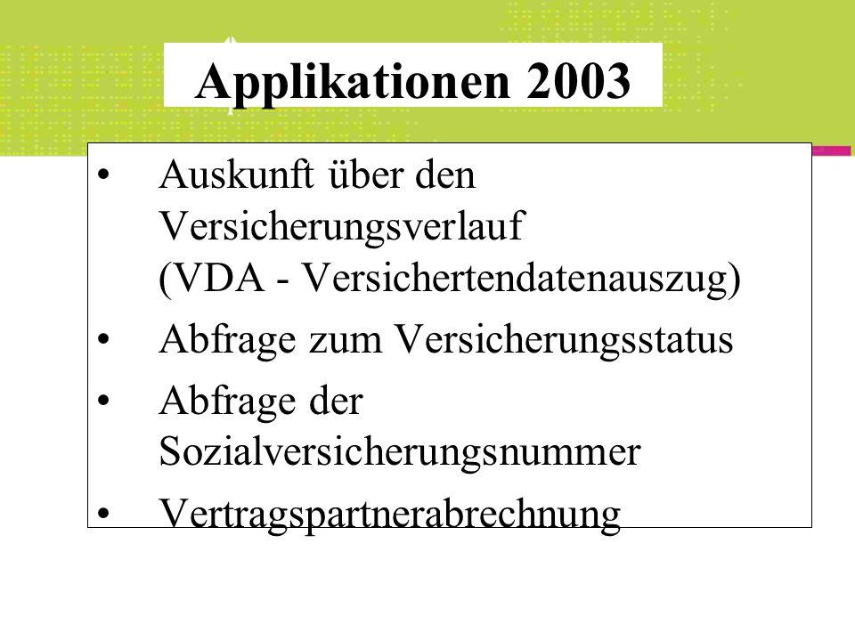 Applikationen 2003 Auskunft über den Versicherungsverlauf (VDA - Versichertendatenauszug) Abfrage zum Versicherungsstatus.