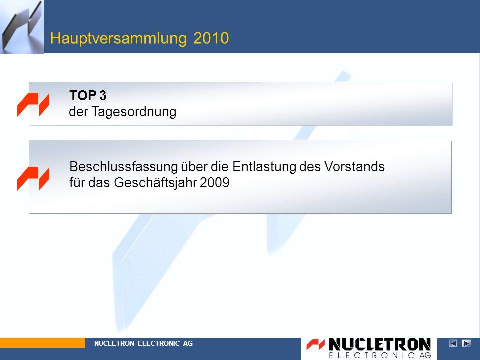 Hauptversammlung 2010 TOP 3 der Tagesordnung