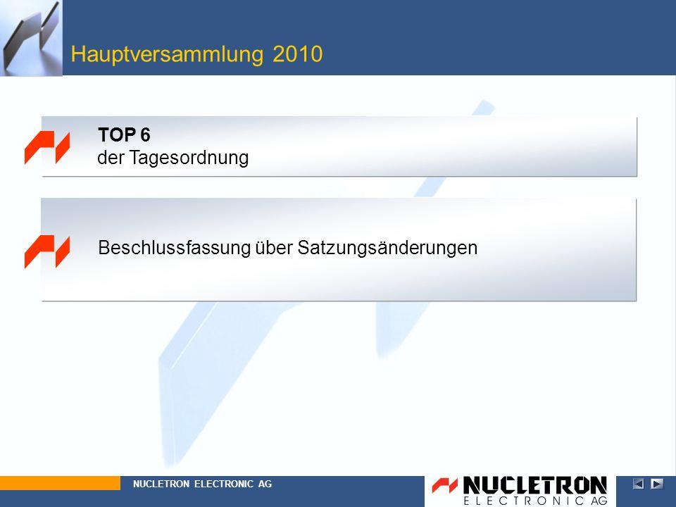 Hauptversammlung 2010 TOP 6 der Tagesordnung