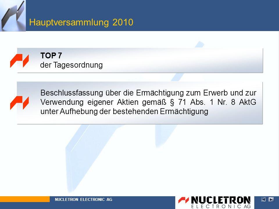 Hauptversammlung 2010 TOP 7 der Tagesordnung