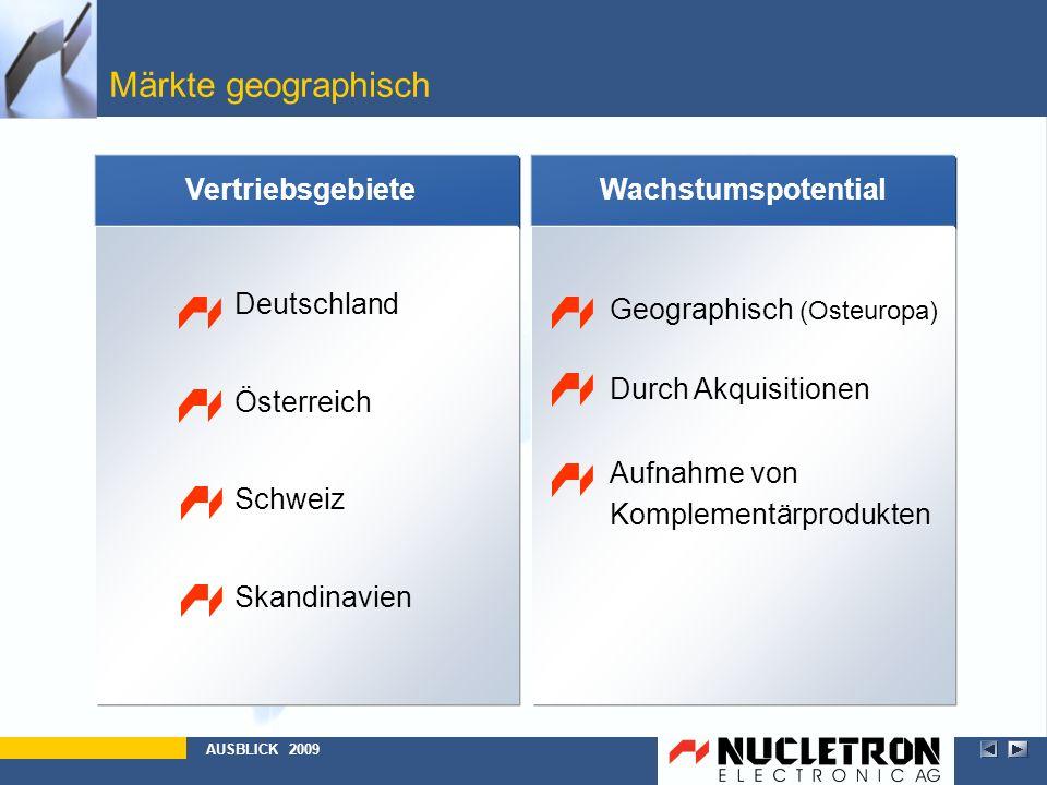 Märkte geographisch Vertriebsgebiete Deutschland Österreich Schweiz