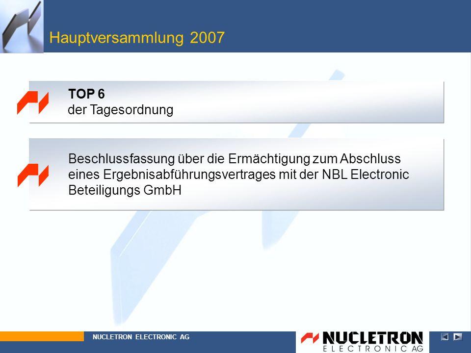 Hauptversammlung 2007 TOP 6 der Tagesordnung