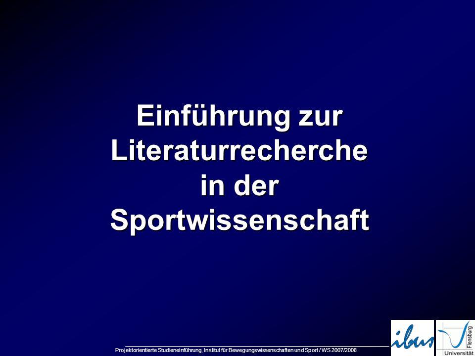 Einführung zur Literaturrecherche in der Sportwissenschaft