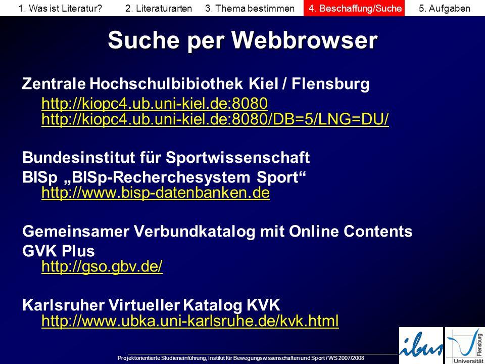 Suche per Webbrowser Zentrale Hochschulbibiothek Kiel / Flensburg