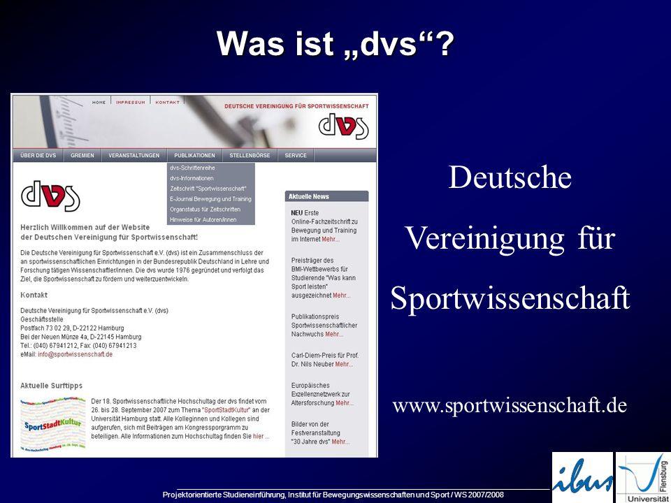 """Was ist """"dvs Deutsche Vereinigung für Sportwissenschaft"""
