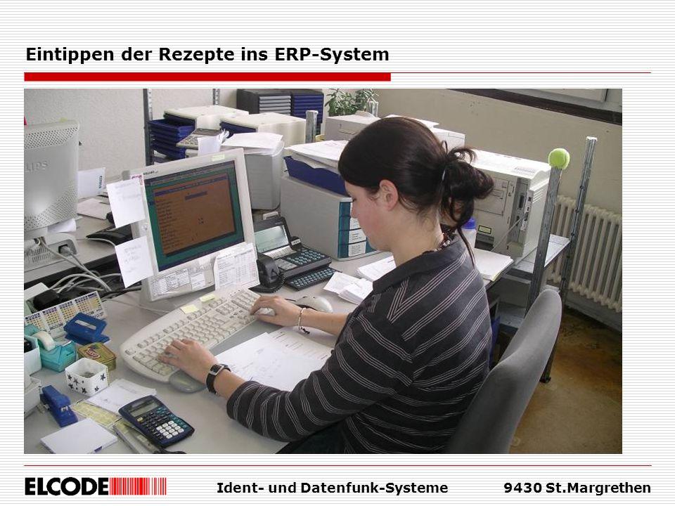 Eintippen der Rezepte ins ERP-System