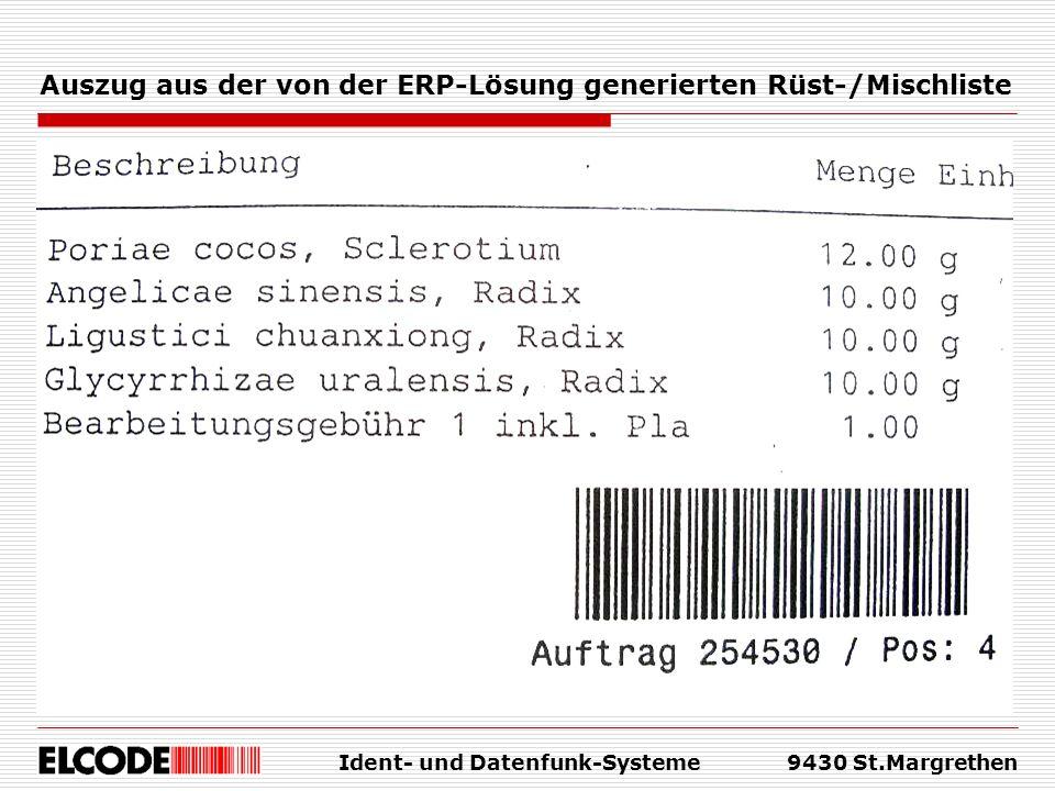 Auszug aus der von der ERP-Lösung generierten Rüst-/Mischliste
