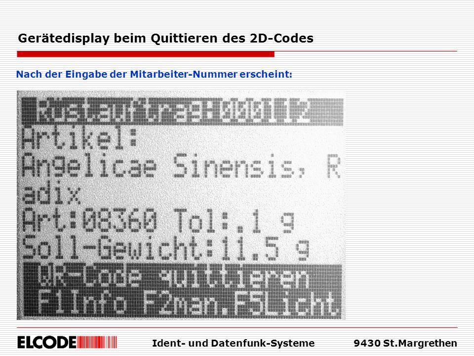 Gerätedisplay beim Quittieren des 2D-Codes