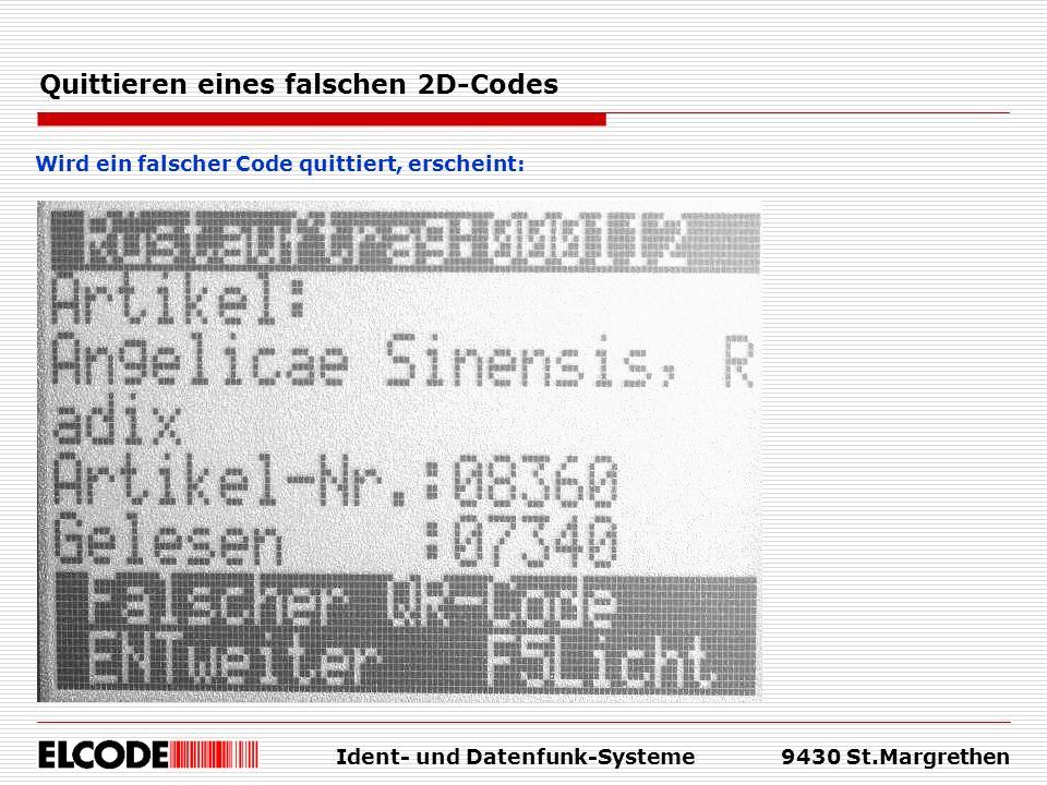 Quittieren eines falschen 2D-Codes