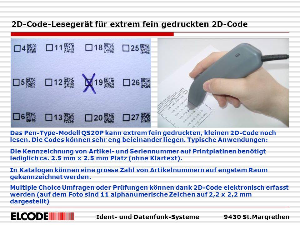 2D-Code-Lesegerät für extrem fein gedruckten 2D-Code
