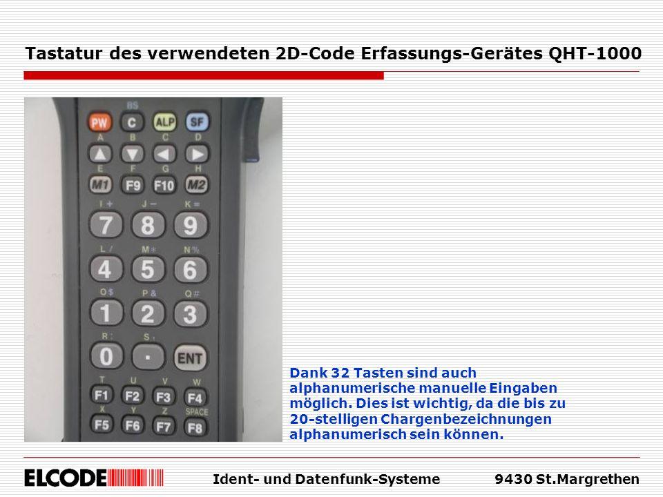Tastatur des verwendeten 2D-Code Erfassungs-Gerätes QHT-1000
