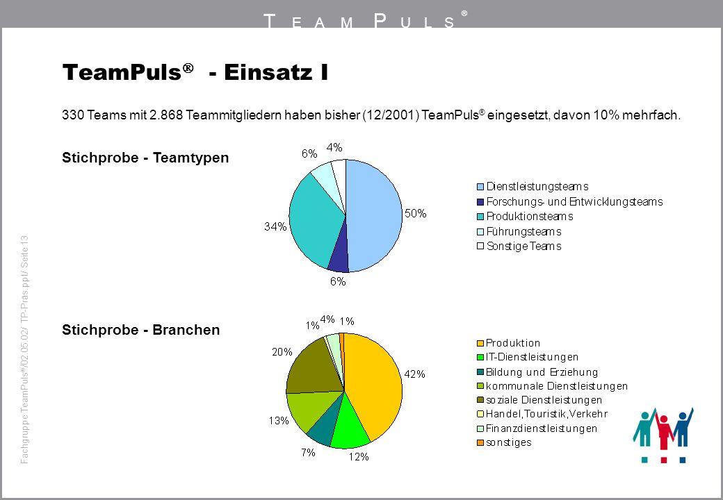 TeamPuls - Einsatz I Stichprobe - Teamtypen Stichprobe - Branchen