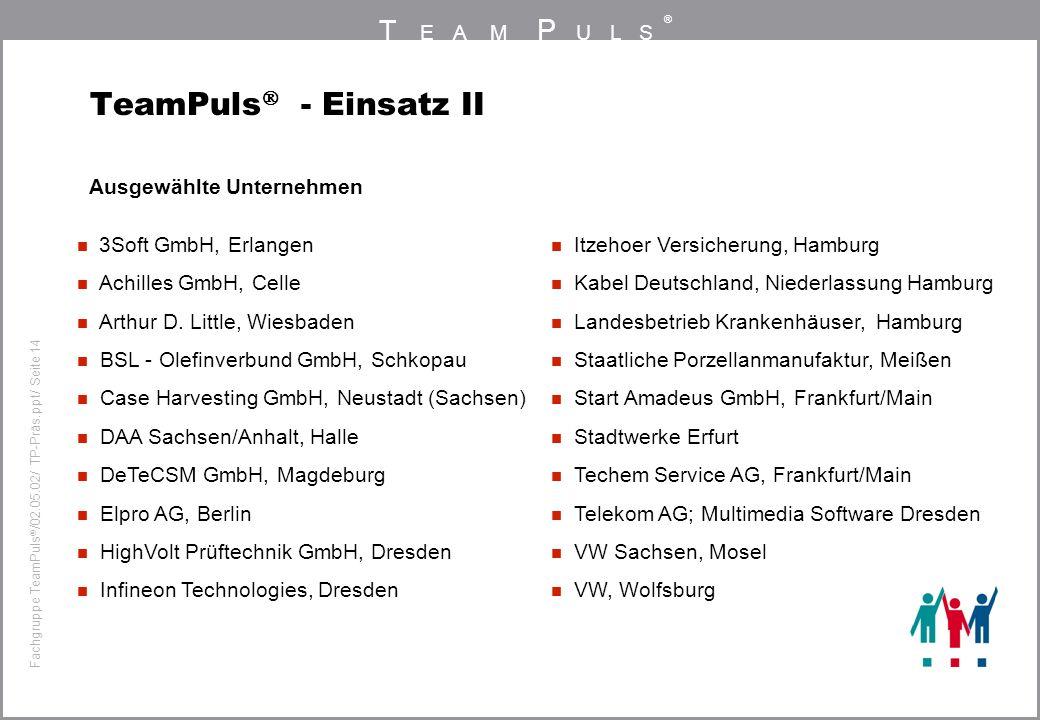 TeamPuls - Einsatz II Ausgewählte Unternehmen 3Soft GmbH, Erlangen
