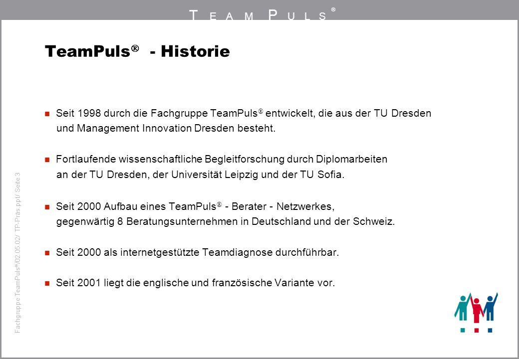 TeamPuls - Historie Seit 1998 durch die Fachgruppe TeamPuls entwickelt, die aus der TU Dresden. und Management Innovation Dresden besteht.