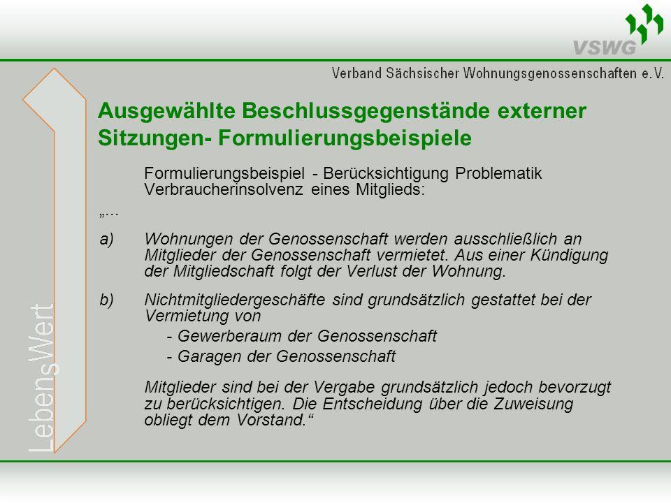 Ausgewählte Beschlussgegenstände externer Sitzungen- Formulierungsbeispiele