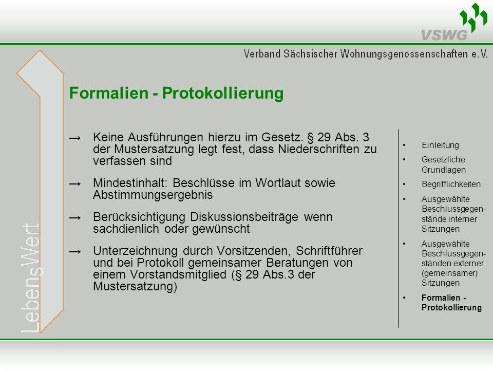Formalien - Protokollierung