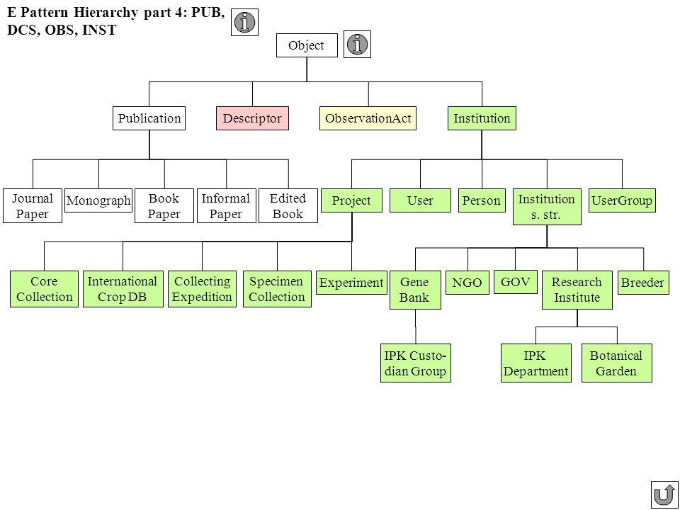 E Pattern Hierarchy part 4: PUB, DCS, OBS, INST