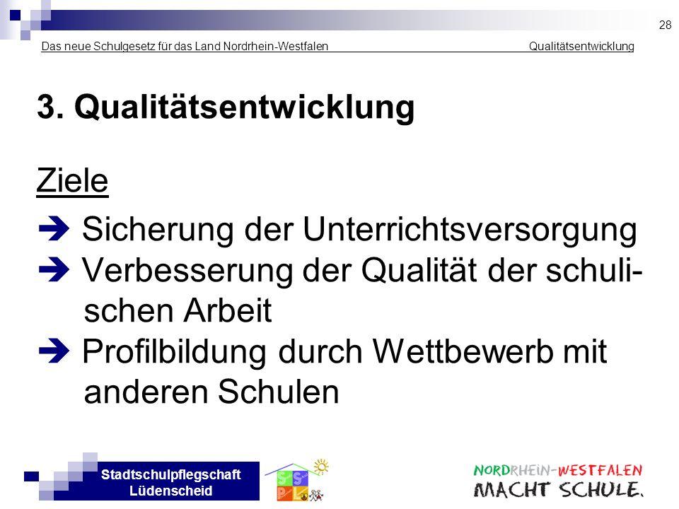 3. Qualitätsentwicklung Ziele  Sicherung der Unterrichtsversorgung