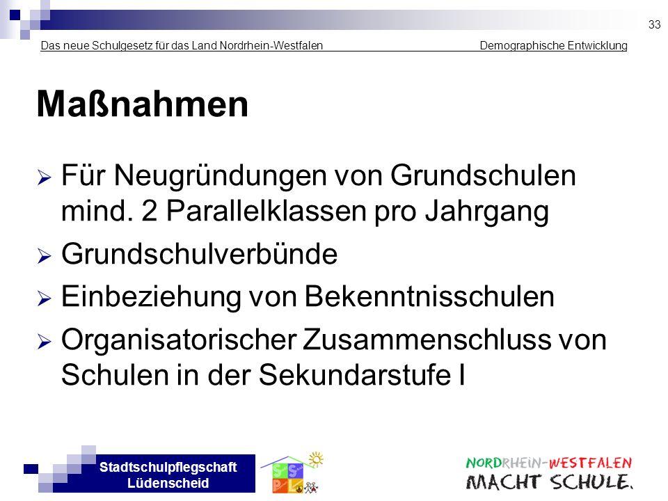 33Das neue Schulgesetz für das Land Nordrhein-Westfalen _____________ Demographische Entwicklung.