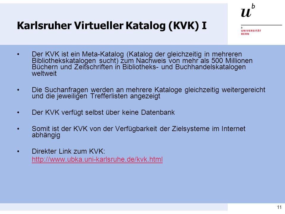 Karlsruher Virtueller Katalog (KVK) I