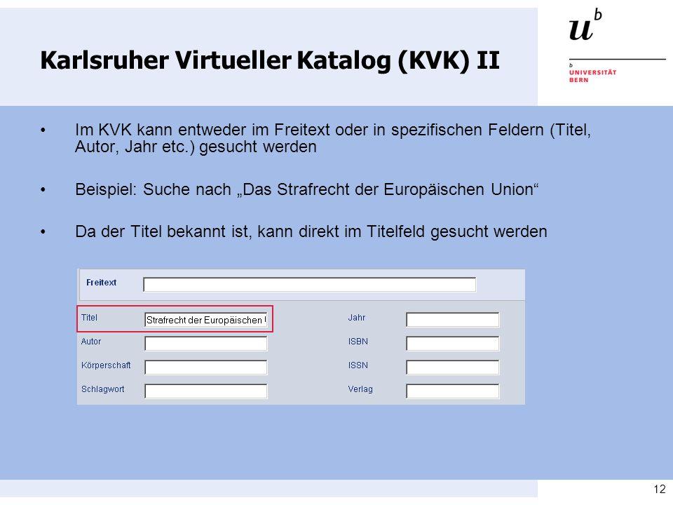 Karlsruher Virtueller Katalog (KVK) II