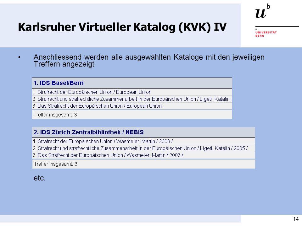 Karlsruher Virtueller Katalog (KVK) IV