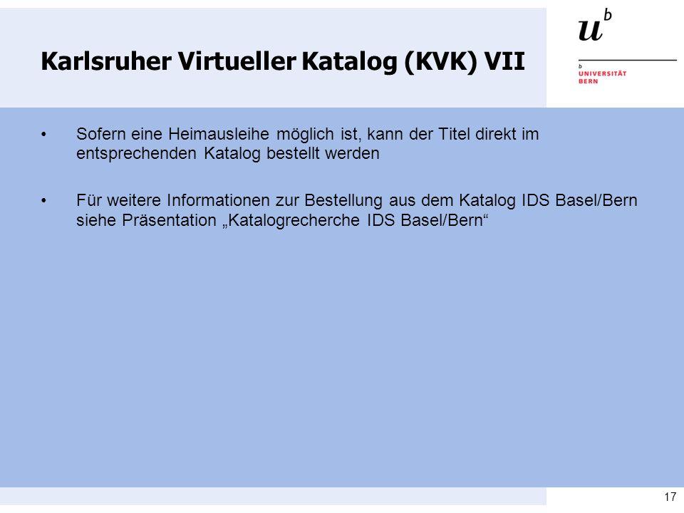 Karlsruher Virtueller Katalog (KVK) VII