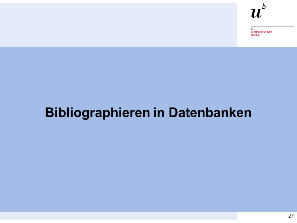 Bibliographieren in Datenbanken