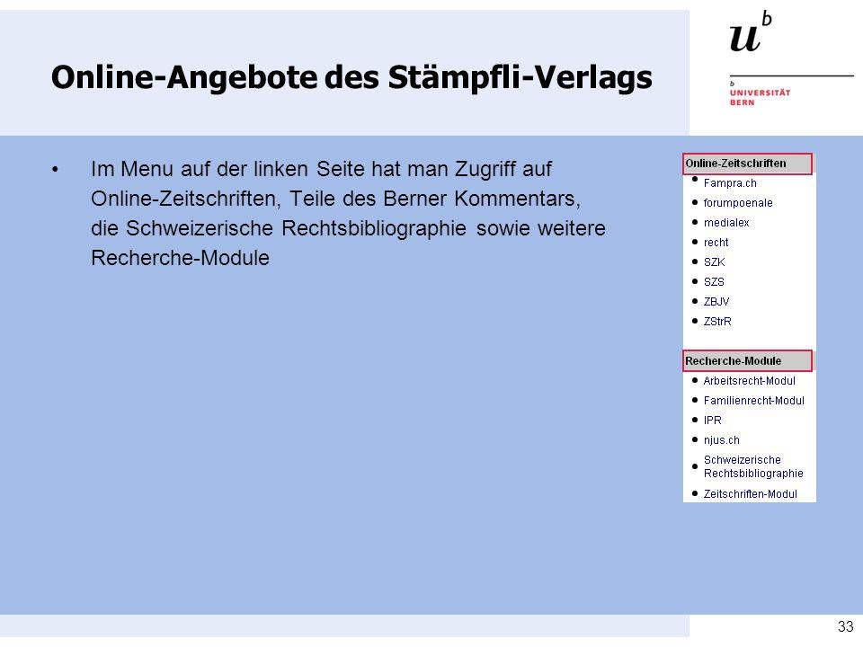 Online-Angebote des Stämpfli-Verlags