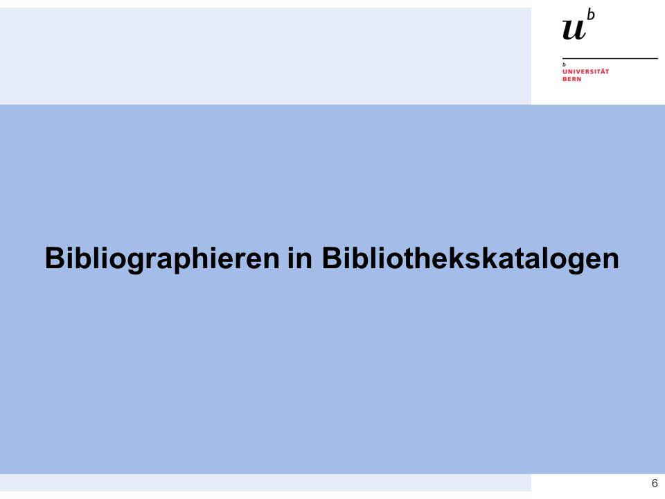 Bibliographieren in Bibliothekskatalogen