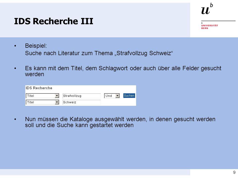IDS Recherche III • Beispiel: