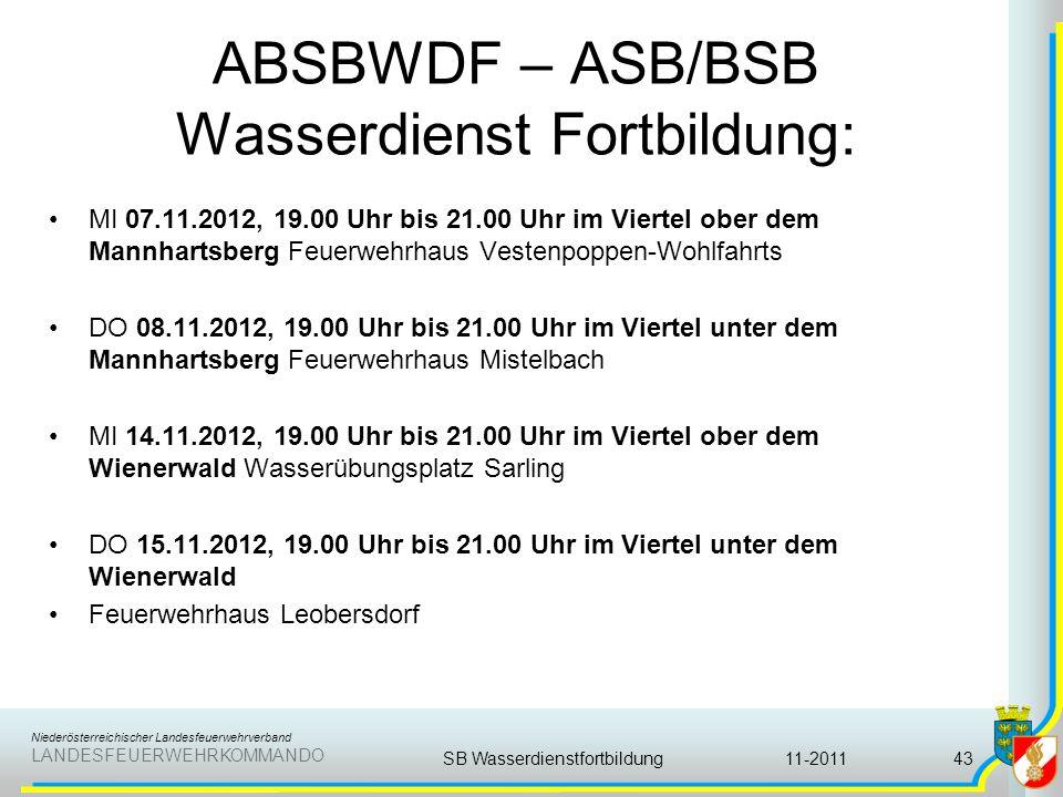 ABSBWDF – ASB/BSB Wasserdienst Fortbildung: