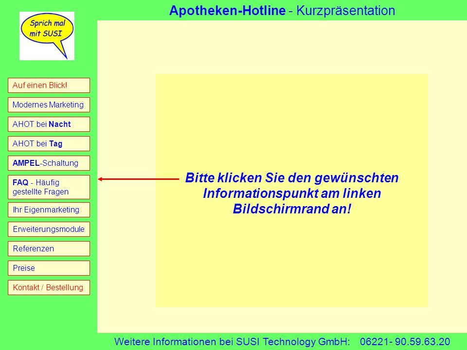 Bitte klicken Sie den gewünschten Informationspunkt am linken Bildschirmrand an!