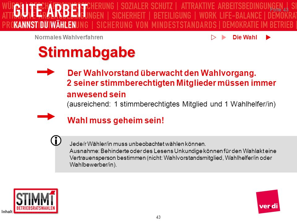 Die Wahl Stimmabgabe.