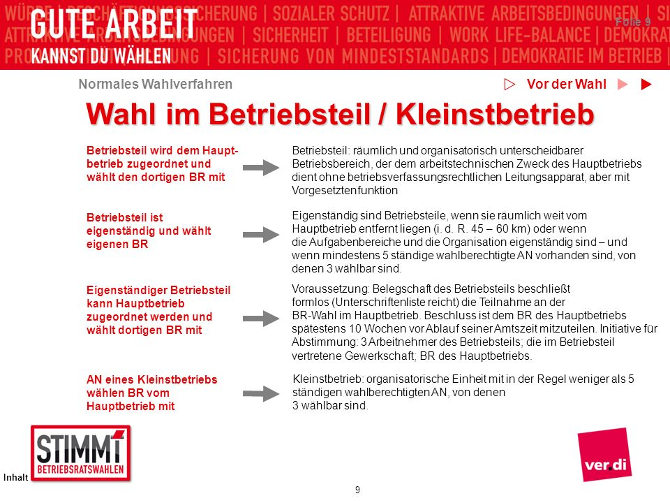 Wahl im Betriebsteil / Kleinstbetrieb
