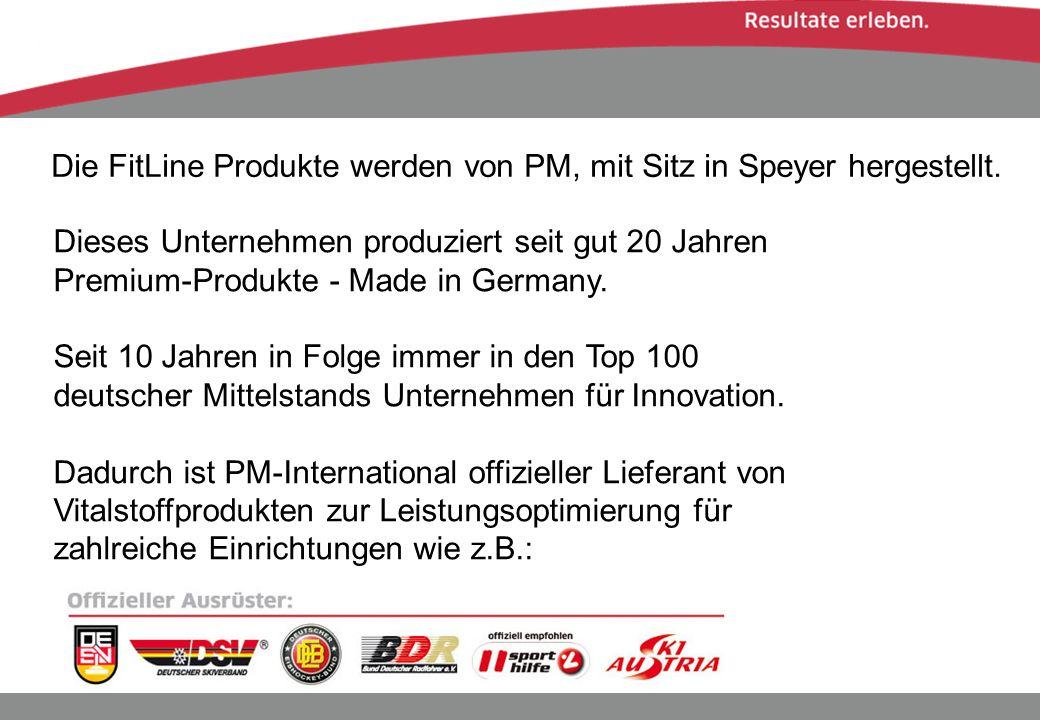 Die FitLine Produkte werden von PM, mit Sitz in Speyer hergestellt.