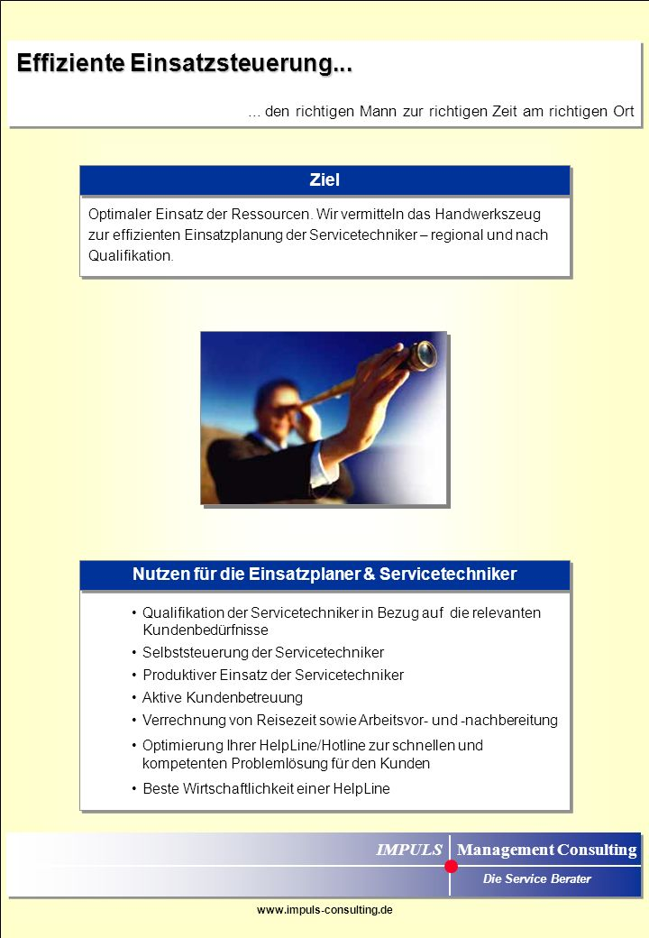 Nutzen für die Einsatzplaner & Servicetechniker