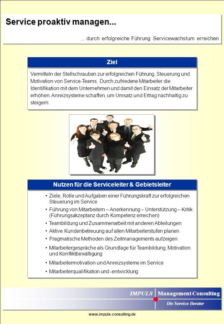 Nutzen für die Serviceleiter & Gebietsleiter