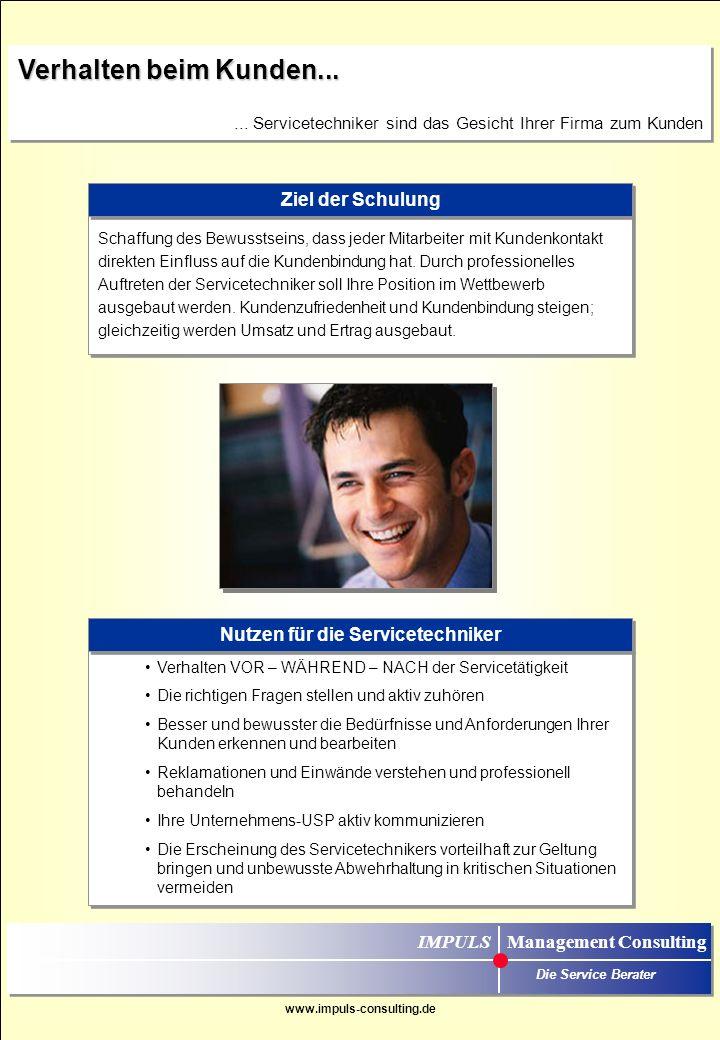 Nutzen für die Servicetechniker IMPULS Management Consulting