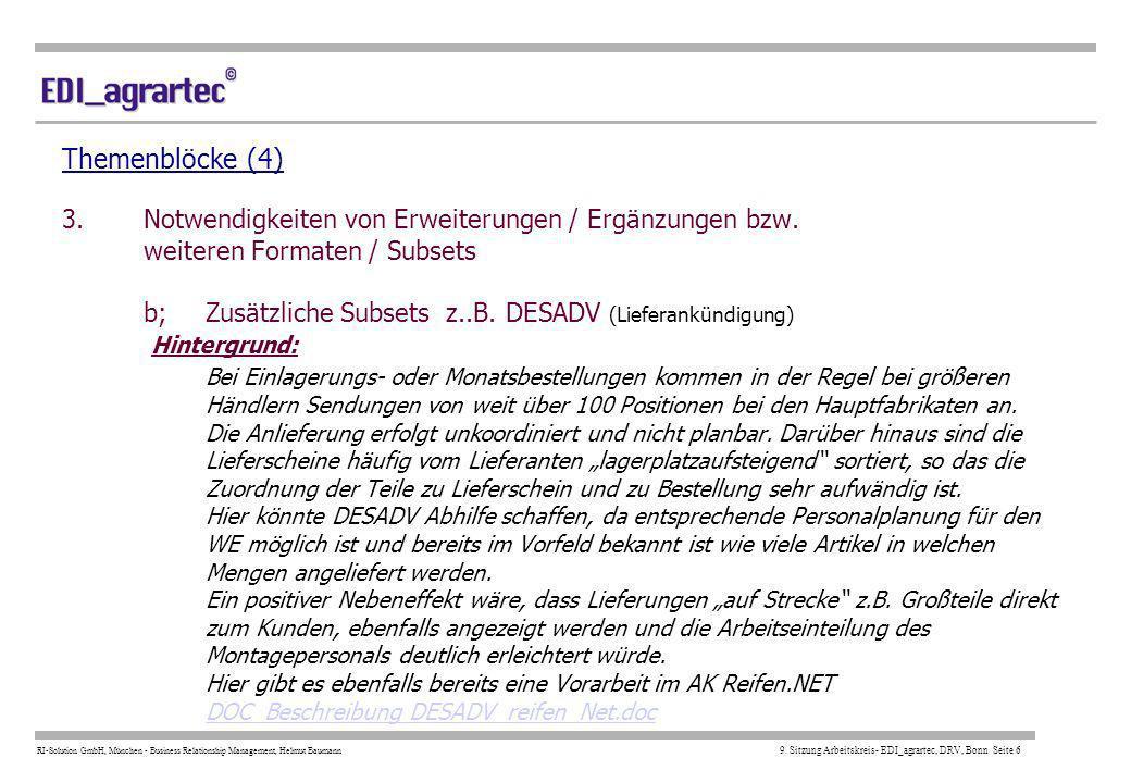 Themenblöcke (4) 3. Notwendigkeiten von Erweiterungen / Ergänzungen bzw. weiteren Formaten / Subsets b; Zusätzliche Subsets z..B.