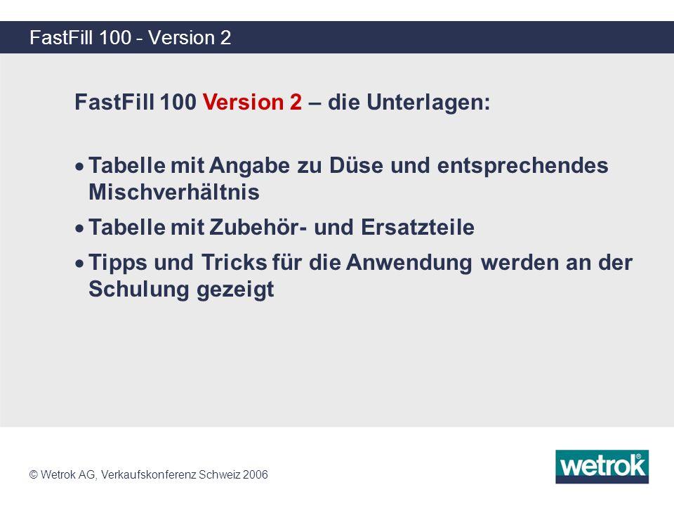 FastFill 100 Version 2 – die Unterlagen:
