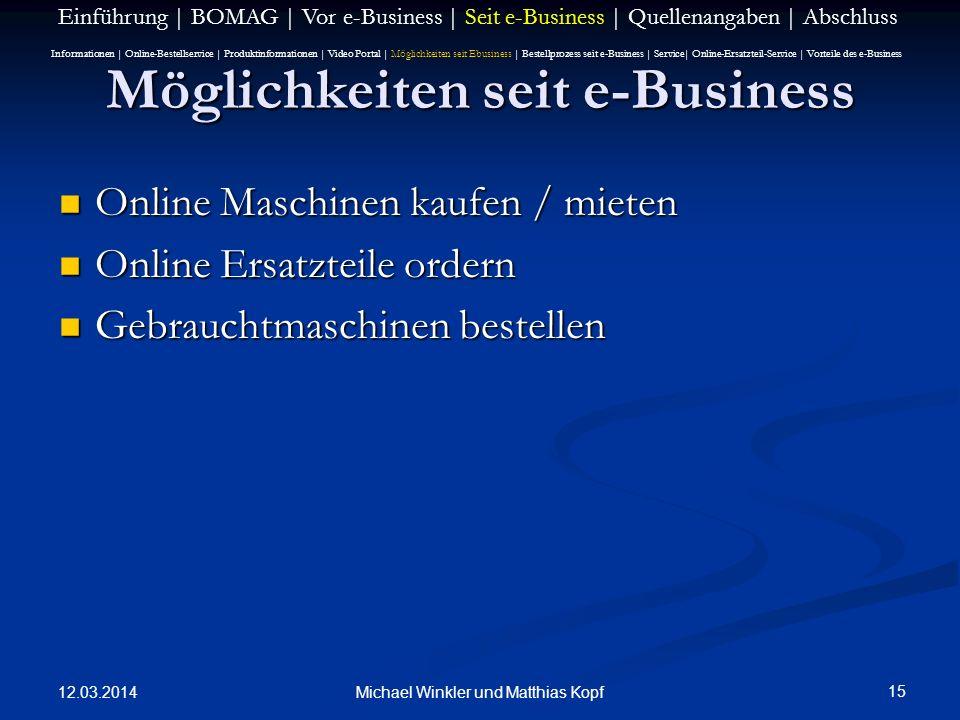 Möglichkeiten seit e-Business