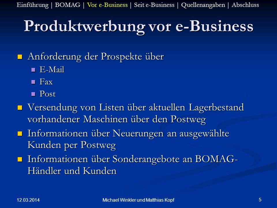 Produktwerbung vor e-Business