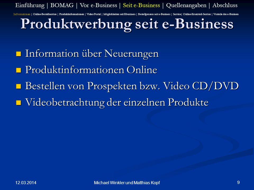 Produktwerbung seit e-Business
