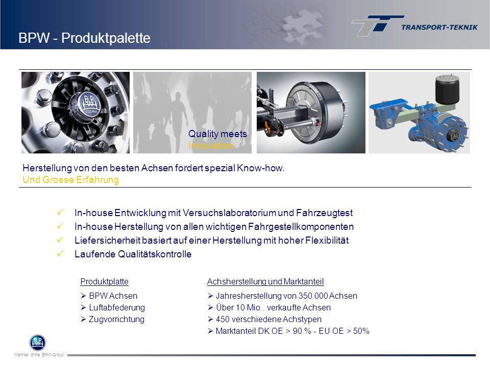 BPW - Produktpalette BPW, Wiehl Quality meets Innovation
