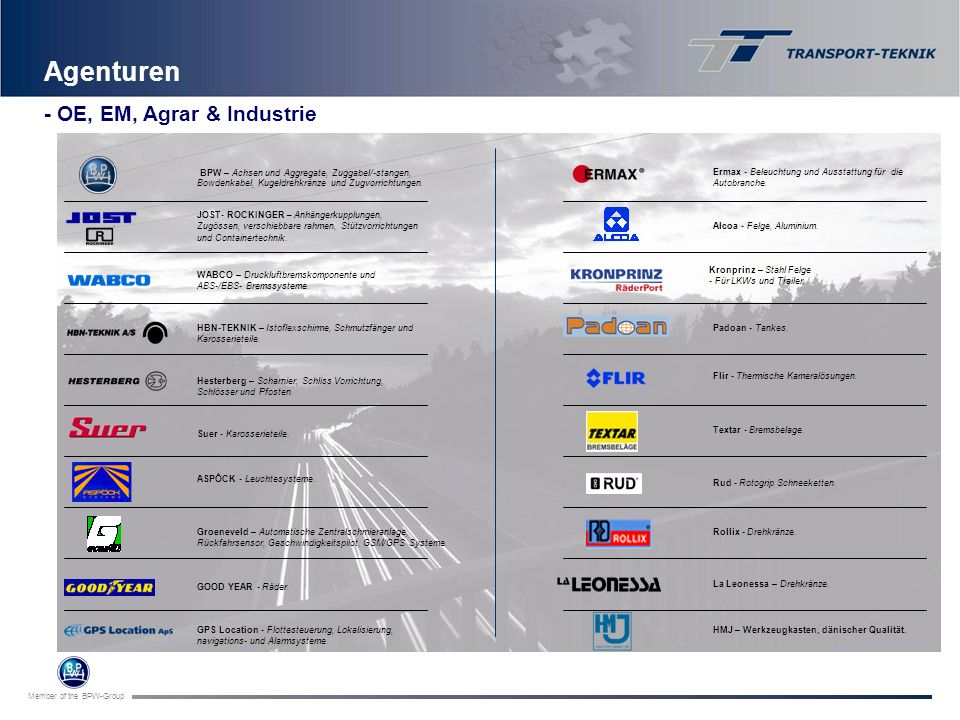 Agenturen - OE, EM, Agrar & Industrie