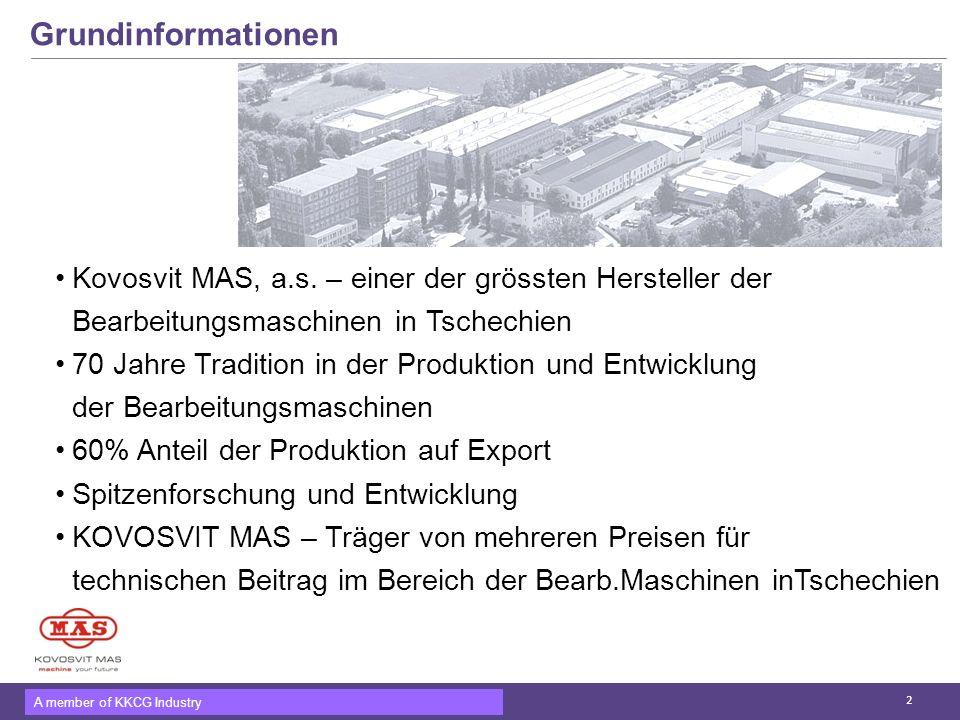 Grundinformationen Kovosvit MAS, a.s. – einer der grössten Hersteller der. Bearbeitungsmaschinen in Tschechien.
